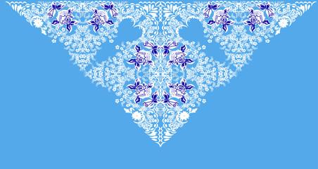 white triangular decoration on light blue background