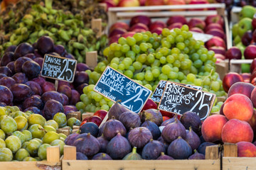 Fresh fruits on a farm market in Copenhagen, Denmark.