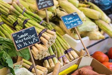 Asparagus on the market in Copenhagen, Denmark.