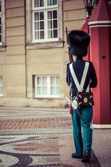 Royal Guard guarding Amalienborg Castle in Copenhagen, Denmark.