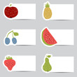 Doodle fruits cards in retro colors