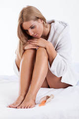Woman relaxing after bath