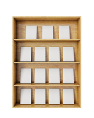 wooden shelves with empty books isolated on white
