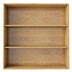 empty wooden shelf isolated on white background