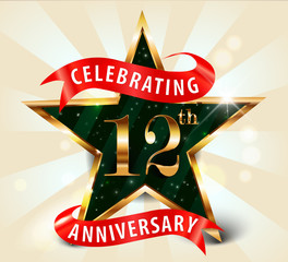 12 year anniversary celebration golden star ribbon