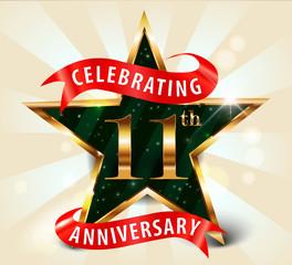 11 year anniversary celebration golden star ribbon