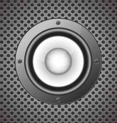 speaker on seamless circle perforated carbon  background vector