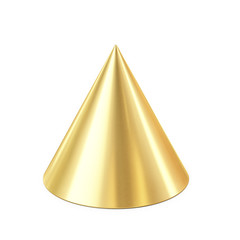 golden cone isolated on white background