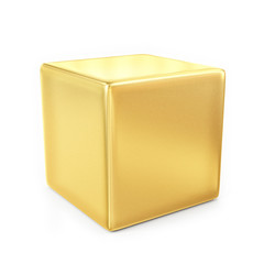 golden cube isolated on white background