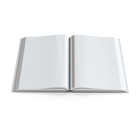 blank 3d empty opened book with hardcovers