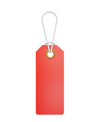 3d red hanging blank price tag isolated on white