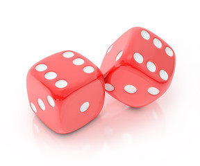 lucky red dice isolated on white background