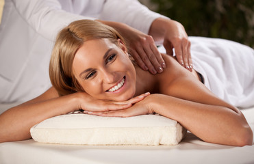Beautiful woman during massage