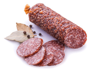 salami isolated on a white background