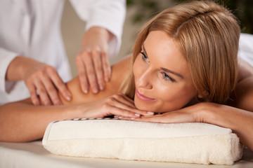 Woman having arm massage
