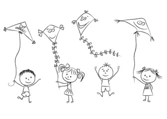 Kids with flying kites