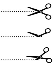 scissors icon with cut line