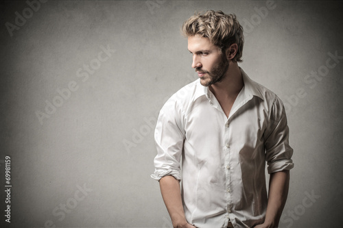 canvas print picture Handsome man looking away