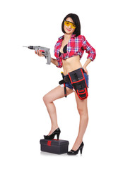 girl with electric drill
