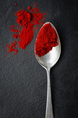 paprika on silver spoon
