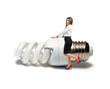 Business woman with bulb over white