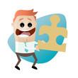 puzzle partnerschaft partner cartoon business team