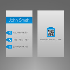 Business card template  -  2x3.5 inches - blue & grey