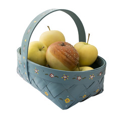 Rotten apple in basket
