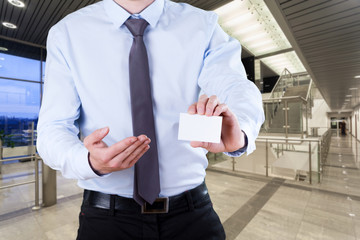 Office worker with card