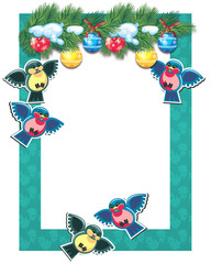 Christmas frame with birds