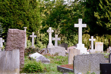 Cemetery graves and crosses