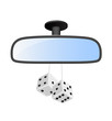 Car mirror with pair of white dices