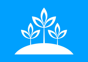 White plant icon on blue background
