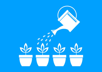 White watering can and plants on blue background