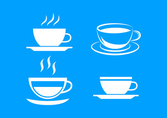White cup icons on blue background