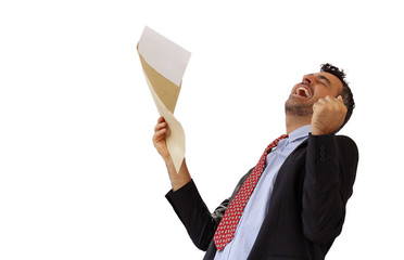 Man reacting with jubilation to a letter