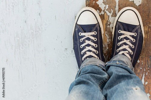 canvas print picture Man in sneakers