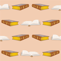 Seamless texture old books bound vintage vector