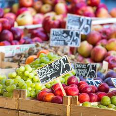 Green and red apples in local market in Copenhagen,Denmark.