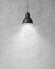 hanging white lamp with shadow on concrete wall