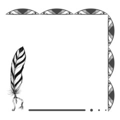 ethnic native american background with feather and original patt