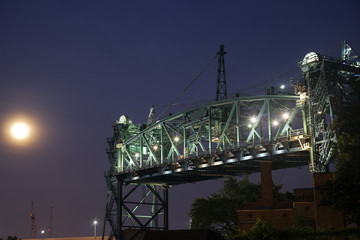 Old bridge in Cleveland and Full Moon