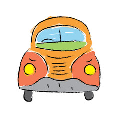 beetle car, hand-drawn vector illustration