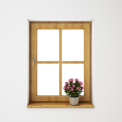 wooden window frame with flowerpot