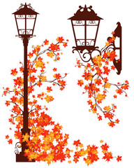 autumn in the city - decorative street lights