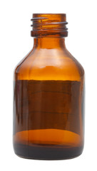 side view of open brown glass pharmacy bottle
