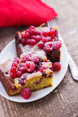 Pastry with raspberry and red currant.