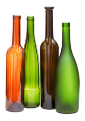 colored empty open wine bottles isolated