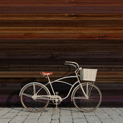 retro bicycle with basket in front of the colorful wooden wall