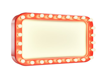 blank marque red frame with light bulbs
